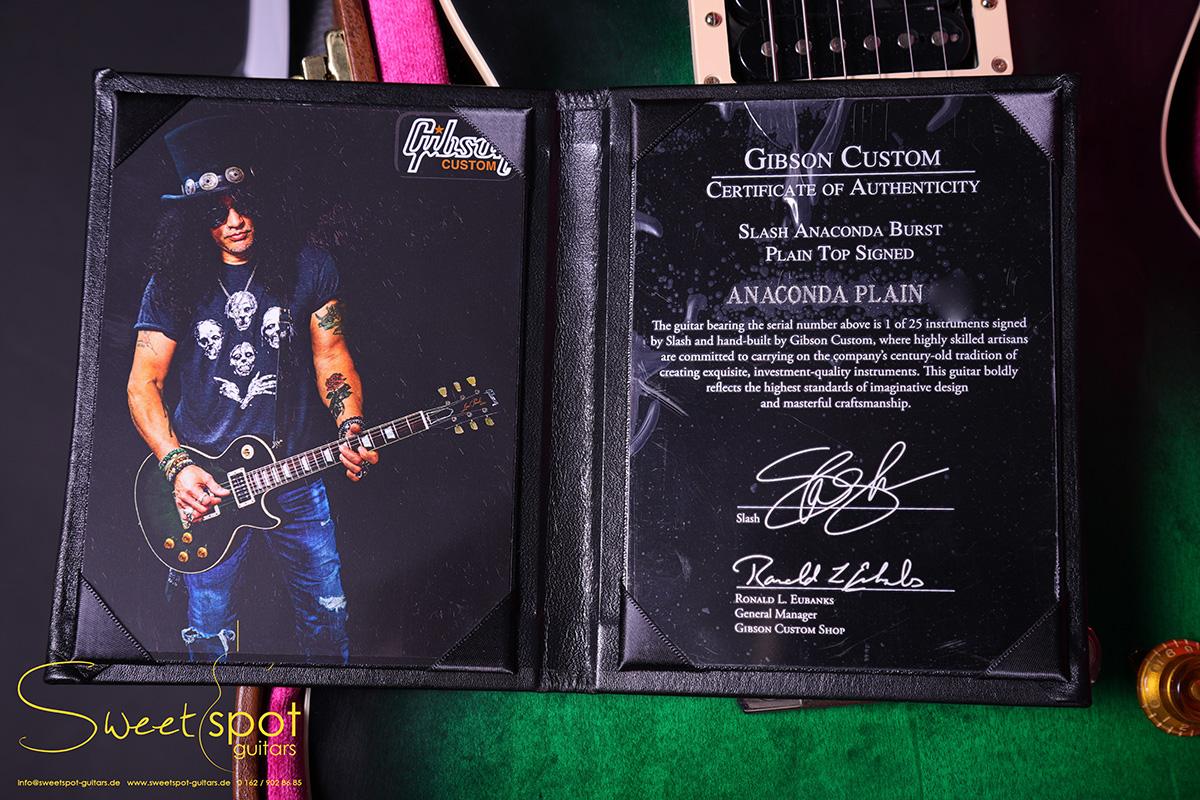 2017 Gibson Les Paul 1958 Slash Anaconda Burst Signed Custom